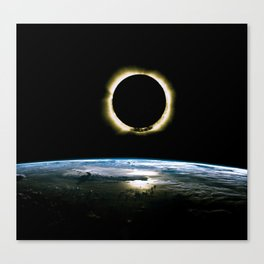 Solar Eclipse from above the earth - Infrared View Canvas Print