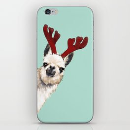 Llama Reindeer in Green iPhone Skin