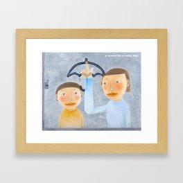 a lesson on a rainy day Framed Art Print