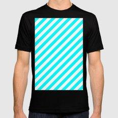 Diagonal Stripes (Aqua Cyan/White) Mens Fitted Tee Black MEDIUM