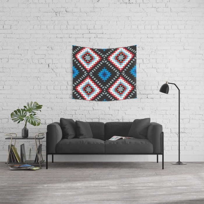 Colorful patchwork mosaic oriental kilim rug with traditional folk geometric ornament. Tribal style Wall Tapestry