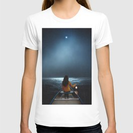 Woman in a boat in the ocean at night-Lantern Lights T-shirt