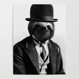 Sloth with Bowl Hat Poster