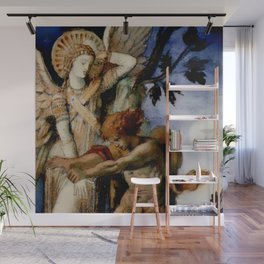 """Gustave Moreau """"Jacob and the Angel"""" (1878) Wall Mural"""