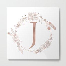 Letter J Rose Gold Pink Initial Monogram Metal Print