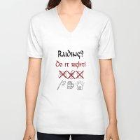 vikings V-neck T-shirts featuring Raiding 1, Vikings by ZsaMo Design