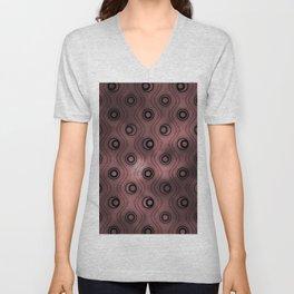 Pantone Red Pear, Bold Circle Rings & Wavy Line Pattern Unisex V-Neck