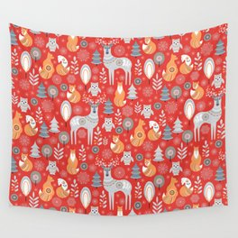 Scandinavian Christmas pattern on a red background. Deer, owls, foxes, trees and grass, snowflakes. Wall Tapestry