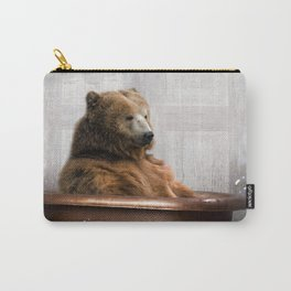 Bear with Rubber Ducky in Vintage Bathtub Carry-All Pouch