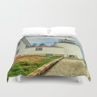 maine Duvet Covers featuring Maine Lighthouse by Raymond Earley