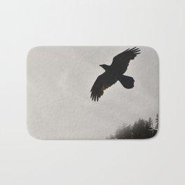 Raven Corvid Bird Northwest Mist Fog Forest Beach Landscape Oregon Bath Mat