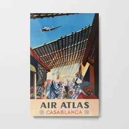 Air Atlas Casablanca Vintage Travel Poster Metal Print