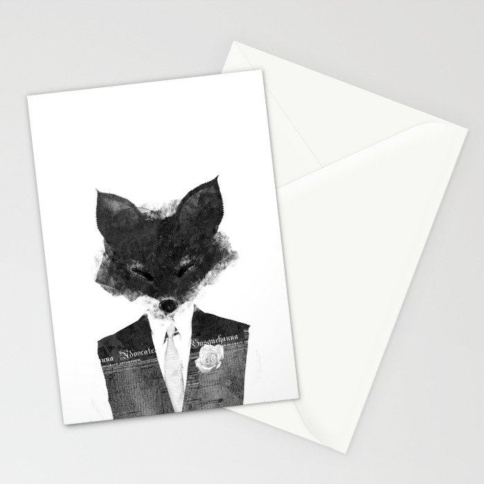 minima - dapper fox | noir Stationery Cards