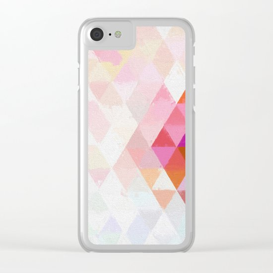 Abstract pink pastell triangle pattern- Watercolor illustration Clear iPhone Case