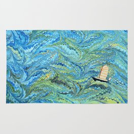 Small Boat on The High Seas Rug