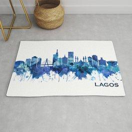 Lagos Nigeria Skyline Blue Rug