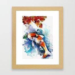 Koi Fish in the Pond - Zen Watercolor Framed Art Print