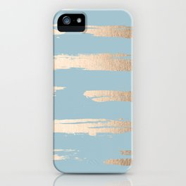 Abstract Paint Stripes Gold Tropical Ocean Sea Blue iPhone Case