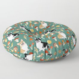 Happy Corgis In Fall Forest Searching For Mushrooms I - Teal  Floor Pillow