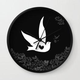 Wings of Love - Black Wall Clock