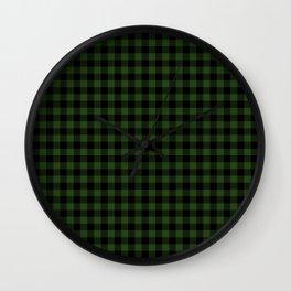 Dark Forest Green and Black Gingham Checkcom Wall Clock