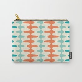 Retro Mid Century Modern Trellis Print Orange and Teal Carry-All Pouch
