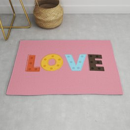 happy LOVE - typography Rug
