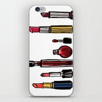 lipstick iPhone & iPod Skins featuring Lipstick by Kayla Phan