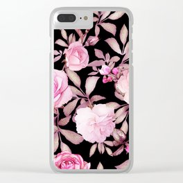 FLORAL PINK & BLACK Clear iPhone Case