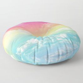 Clouds in a Rainbow Unicorn Sky Floor Pillow
