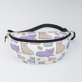 Lavender Beige Cats Leaves Pattern Fanny Pack