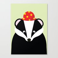 badger Canvas Prints featuring Badger by onelittledickybird