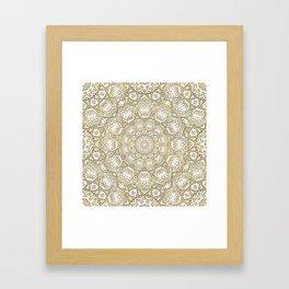 Golden Mandala in Cream Colored Background Framed Art Print