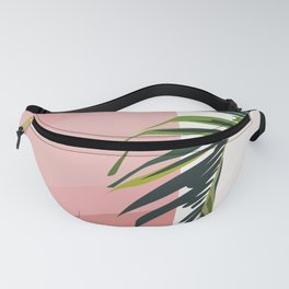 Leaf I : Palm Tree Leaf on Pink Wall Fanny Pack