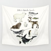 arctic monkeys Wall Tapestries featuring Arctic & Antarctic Animals by Amy Hamilton