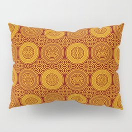 Chinese symbols longevity and abundance gold on red pattern Pillow Sham