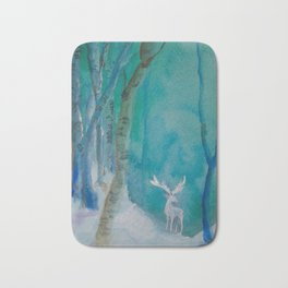 White Stag of the Winter Solstic Bath Mat