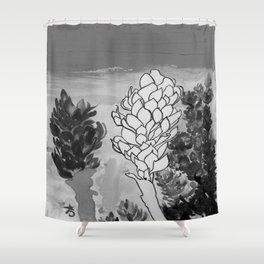Alpinia purpurata – Red Ginger Flower - Black and White Greyscale Shower Curtain