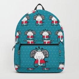 Doodle Elephant on Blue Background Backpack