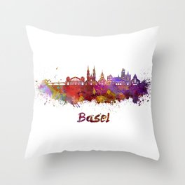 Basel skyline in watercolor Throw Pillow