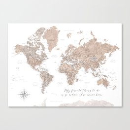 Where I've never been detailed world map in taupe Canvas Print