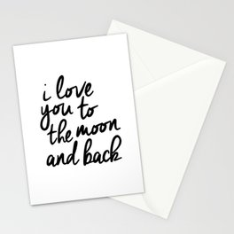 I Love You to the Moon and Back black-white kids room typography poster home wall decor canvas Stationery Cards