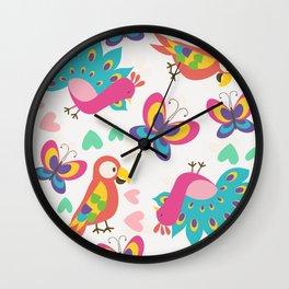 Exotic Birds & Butterflies Pattern Wall Clock