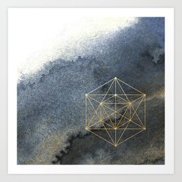 Sacred Geometry Indigo Blue & Gold Watercolor Art Print