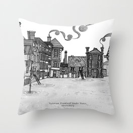 Victorian Frankwell Under Water, black and white Throw Pillow