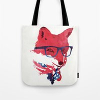 american Tote Bags featuring American Fox by Robert Farkas
