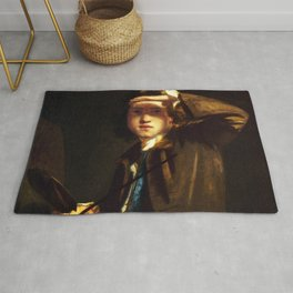 "Sir Joshua Reynolds ""Self-portrait shading the Eyes"" Rug"