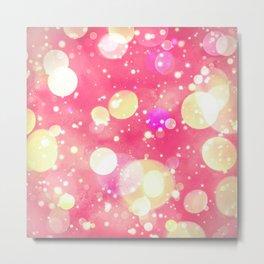 Girly Pink & Vintage Yellow Sparkly Bokeh Pattern Metal Print