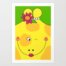 Giraffe Love Art - Cute, funny, colorful, lovely Children's Art Art Print