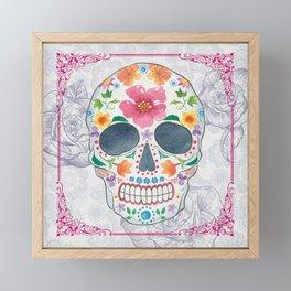 Sugar Skull Watercolor Floral Art Framed Mini Art Print